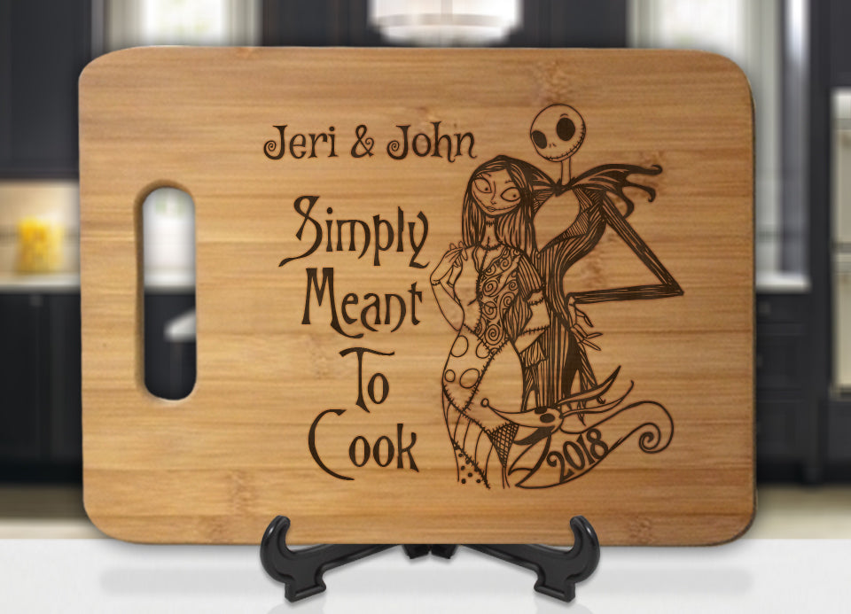 Personalized Jack and Sally Simply Meant to Cook Engraved Cutting Board - Bee3dgifts
