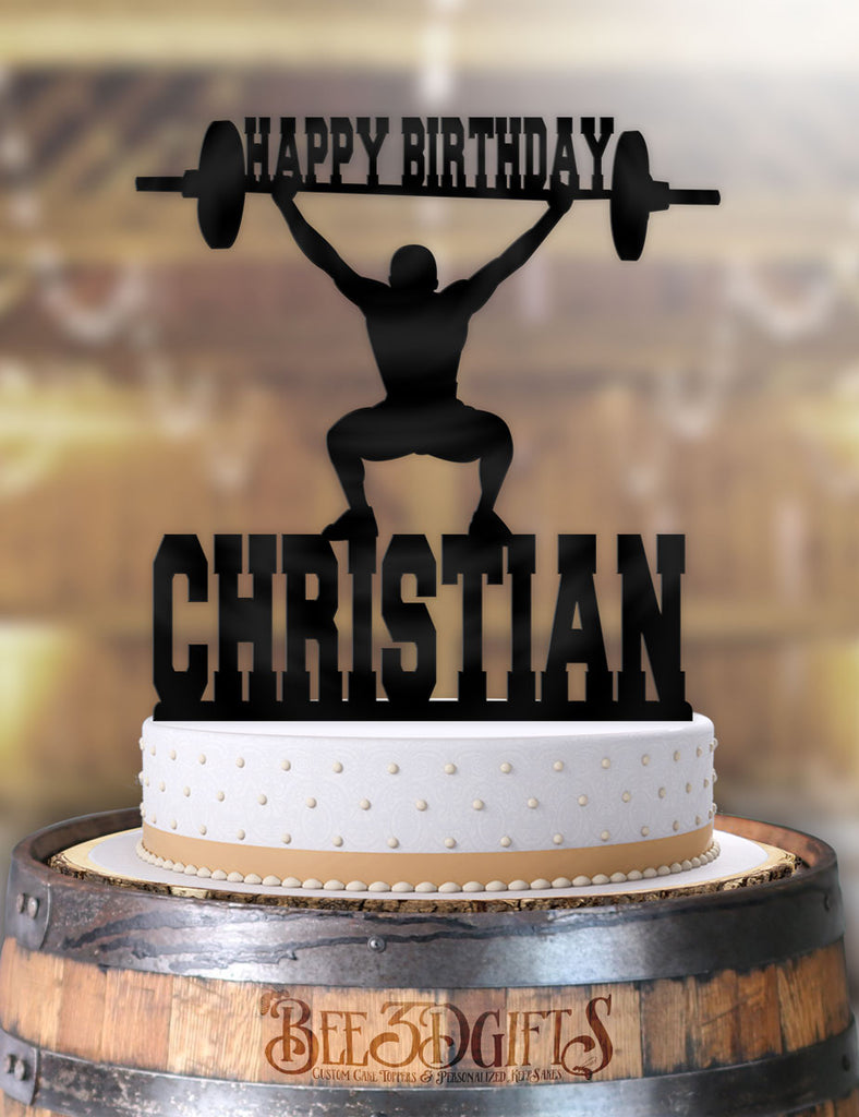Personalized Male Weightlifter Birthday Cake Topper - Bee3dgifts