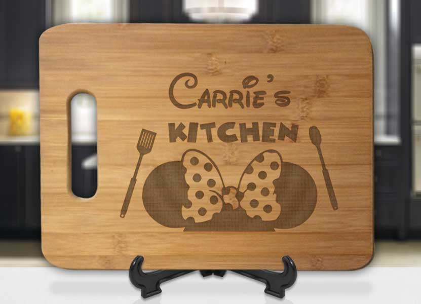 Personalized Name's Kitchen Minnie Ears Engraved Cutting Board