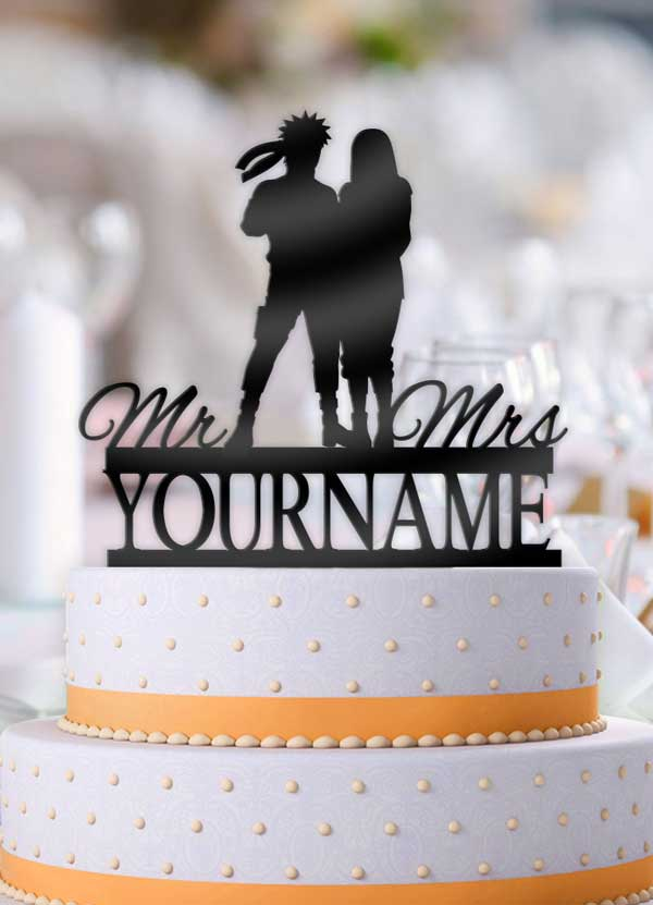 Personalized Naruto and Hinata Mr Mrs with Name Wedding Cake Topper - Bee3dgifts