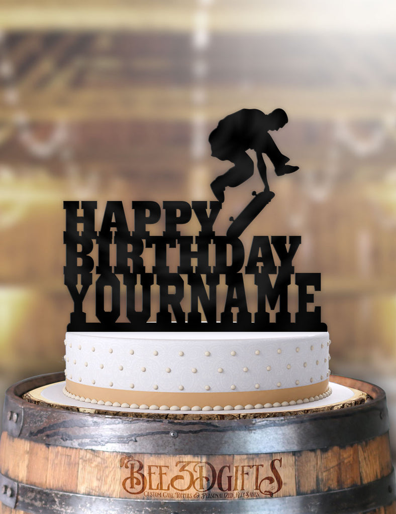 Phenomenal Personalized Skate Boarder Jump Birthday Cake Topper Personalised Birthday Cards Petedlily Jamesorg