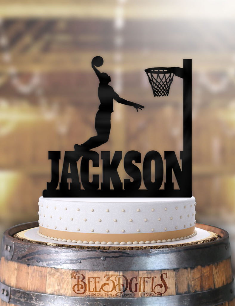 Personalized Basketball Male Slam Dunk Birthday Cake Topper - Bee3dgifts