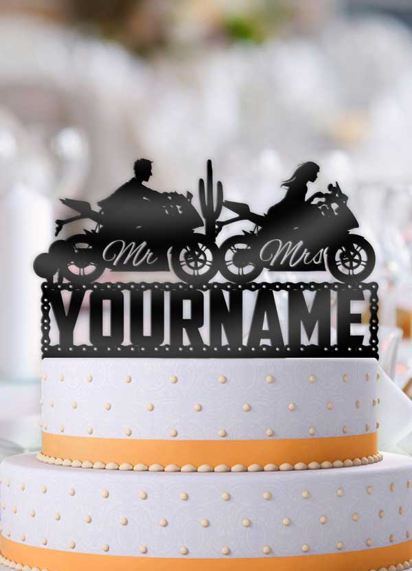 Personalized Sports Motorcycle Mr and Mrs Couple Desert Scene Wedding Cake Topper - Bee3dgifts