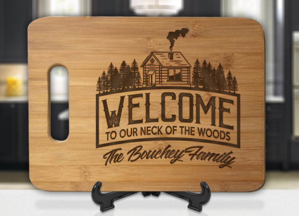 Personalized Welcome to our neck of the woods family name Engraved Cutting Board - Bee3dgifts