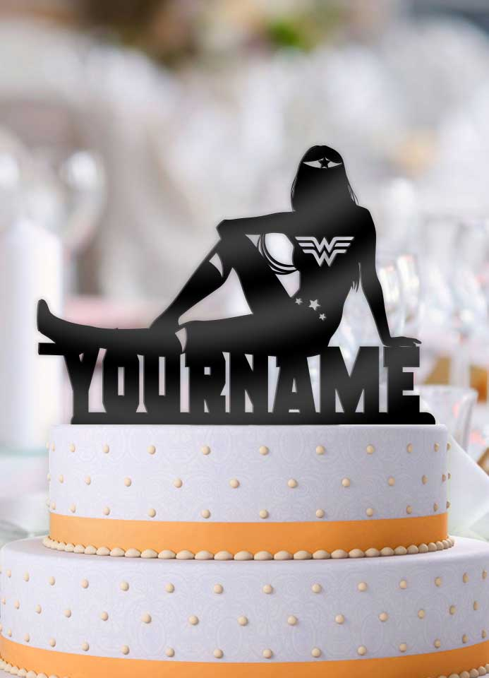 Personalized Wonder Woman Cool Birthday Cake Topper
