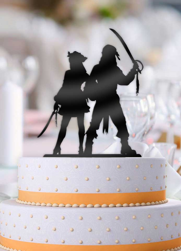 Pirate Couple Wedding Cake Topper - Bee3dgifts