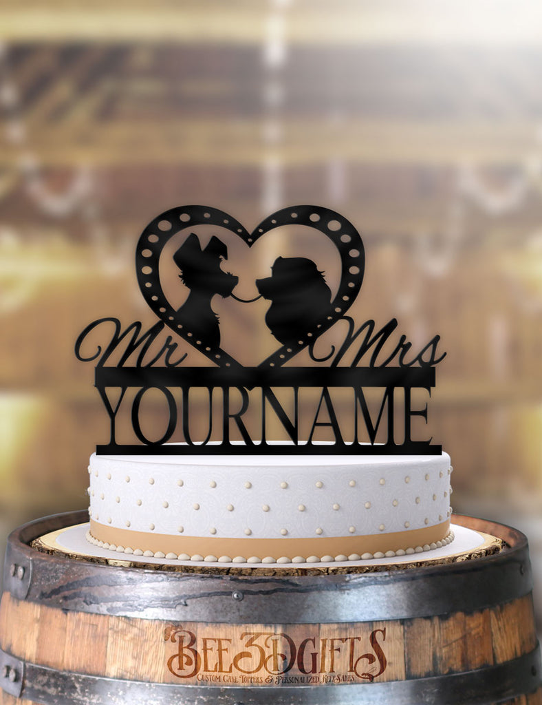 Personalized Lady and the Tramp Profile Cake Topper - Bee3dgifts