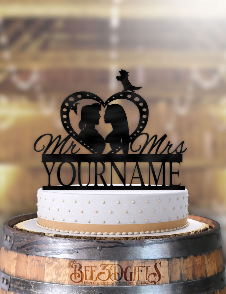 Personalized Pocahontas and John Smith Profile Cake Topper - Bee3dgifts