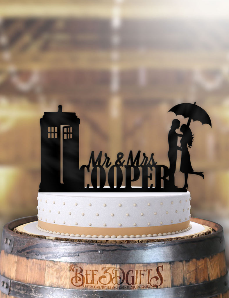 Personalized Its Raining Tardis with Name Cake Topper - Bee3dgifts