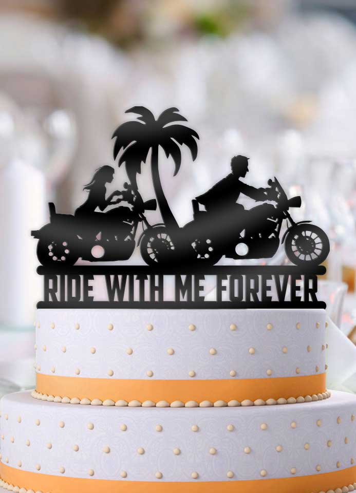 Motorcycle Couple Ride With Me Forever Tropical Scene Wedding Cake Topper - Bee3dgifts