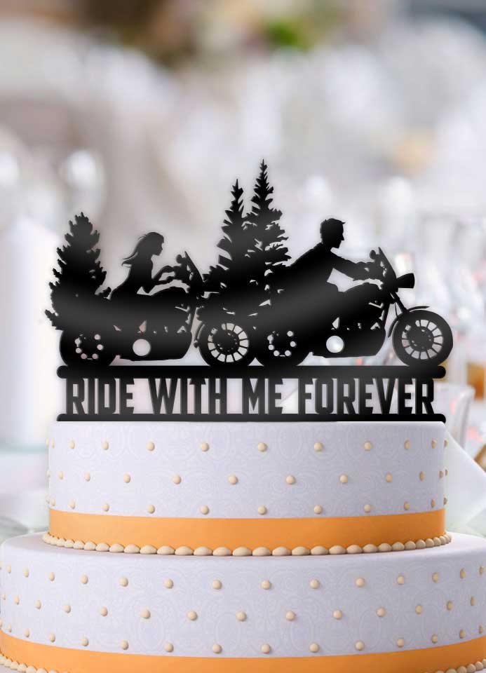 Motorcycle Couple Ride With Me Forever Wilderness Scene Wedding Cake Topper - Bee3dgifts