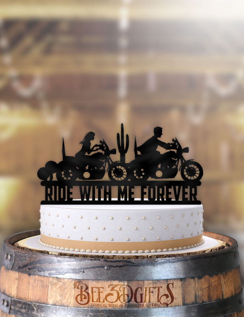 Motorcycle Couple Ride With Me Forever Desert Scene Cake Topper - Bee3dgifts