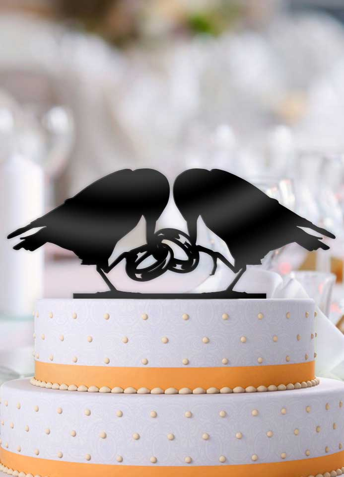 Ring Ravens Wedding Cake Topper - Bee3dgifts