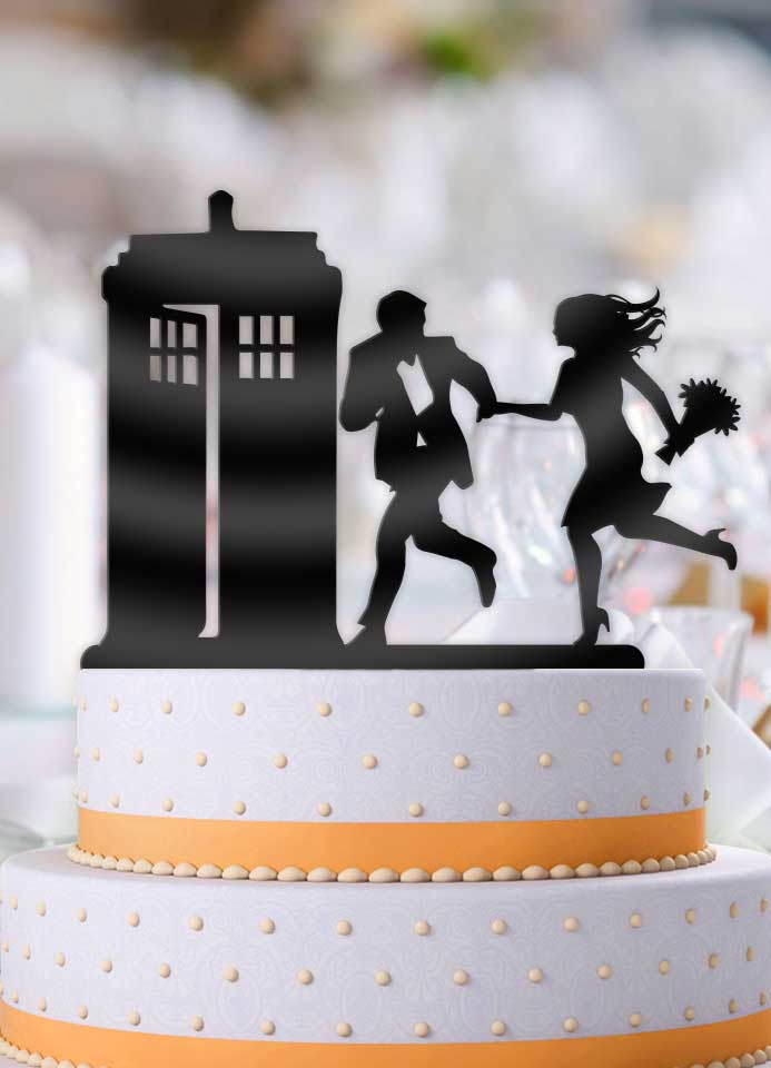 Rush to the Tardis Wedding Cake Topper - Bee3dgifts