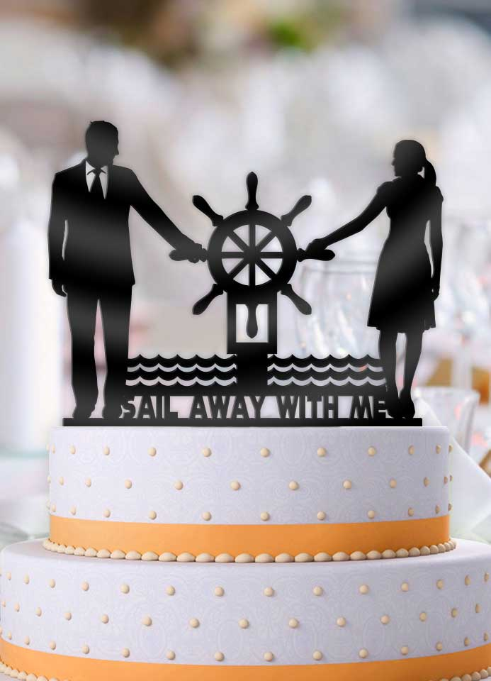 Nautical Couple Sail Away With Me Wedding Cake Topper - Bee3dgifts
