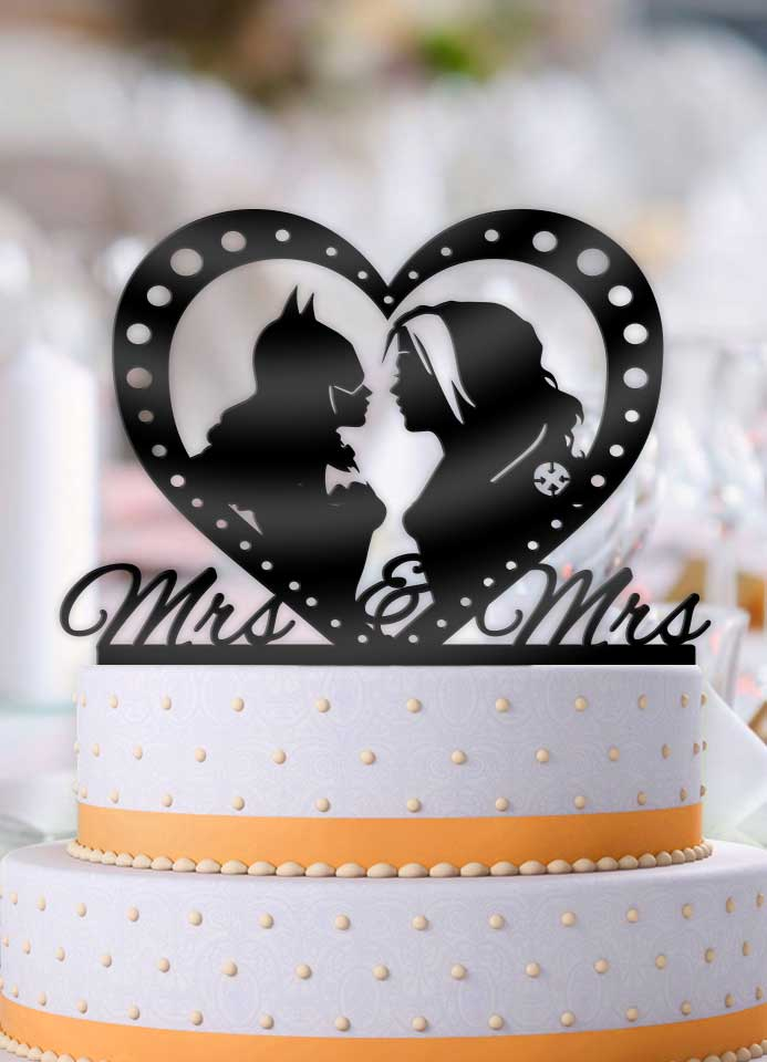 Rogue and Batgirl Profile Mrs Mrs Same Sex Wedding Cake Topper - Bee3dgifts