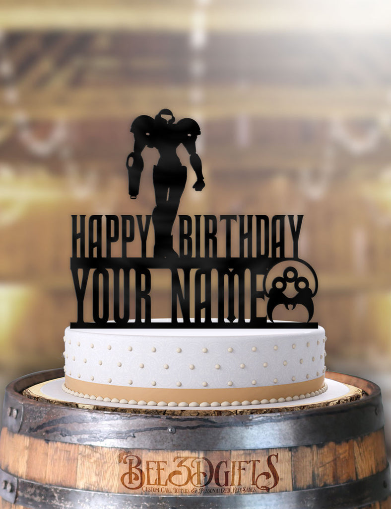Personalized Samus Super Metroid Birthday Cake Topper - Bee3dgifts