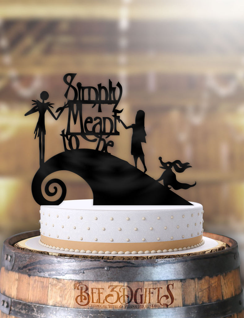 Jack and Sally Simply Meant To Be with Zero Curl Hill Cake Topper - Bee3dgifts