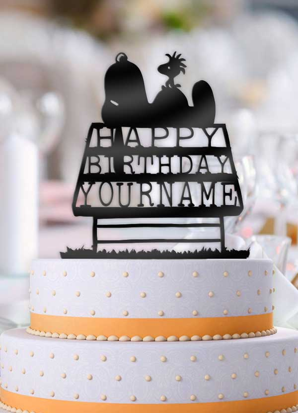 Personalized Snoopy and Woodstock Birthday Cake Topper - Bee3dgifts