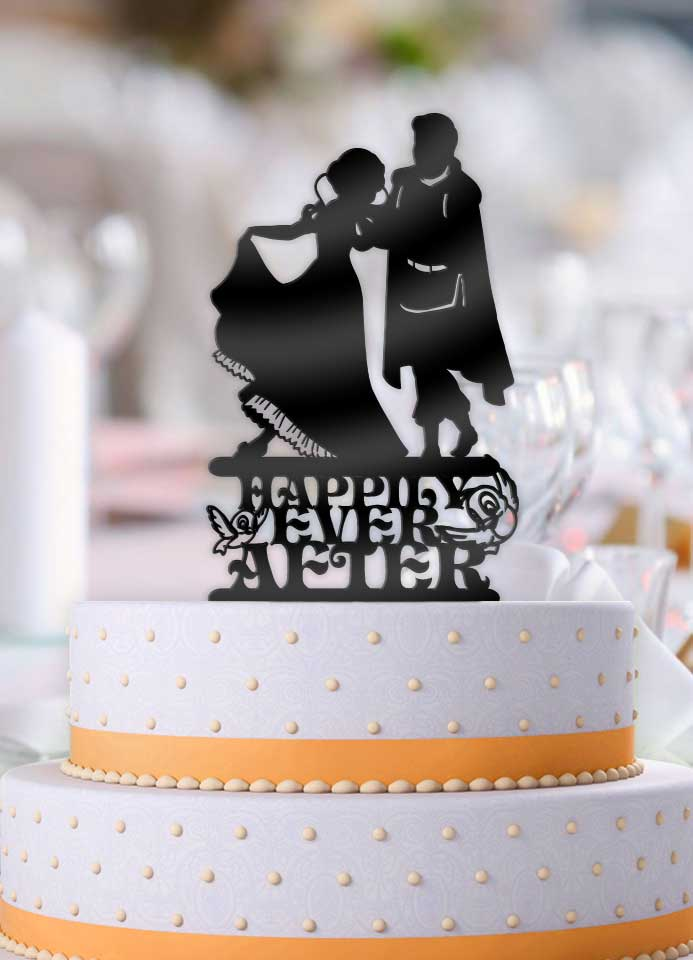 Snow White and Prince Charming Happily Ever After Cake Topper - Bee3dgifts