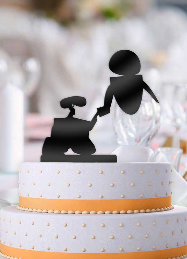 Solid Wall-e and Eve Wedding Cake Topper - Bee3dgifts
