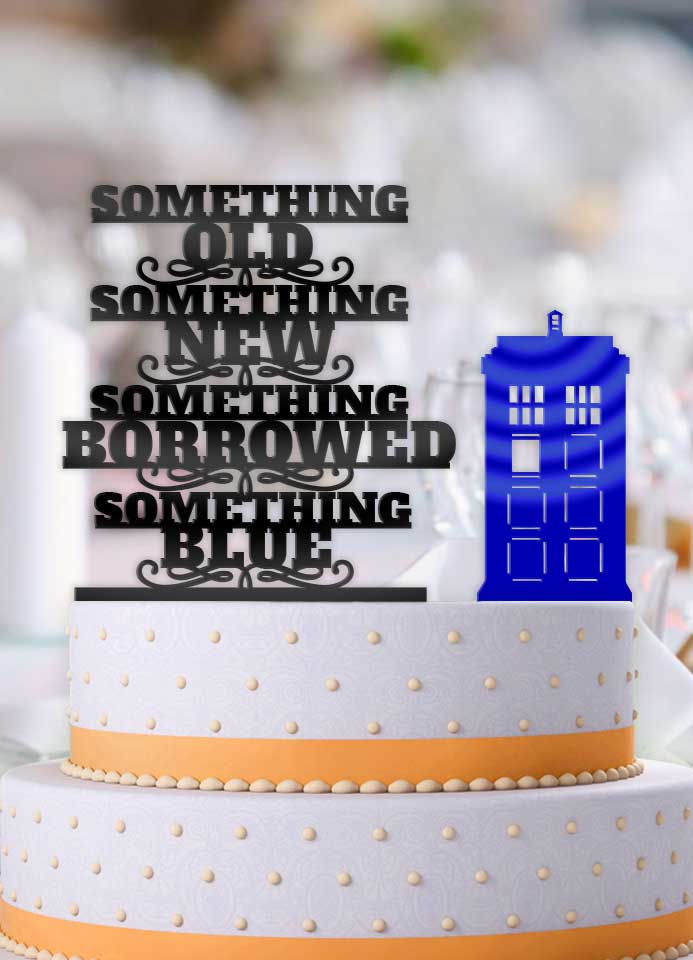 Something Old, Something New, Something Borrowed, Something Blue Tardis 2 Piece Wedding Cake Topper - Bee3dgifts