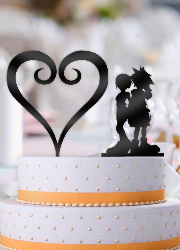 Sora and Kairi Curled Heart 2 Piece Wedding Cake Topper - Bee3dgifts