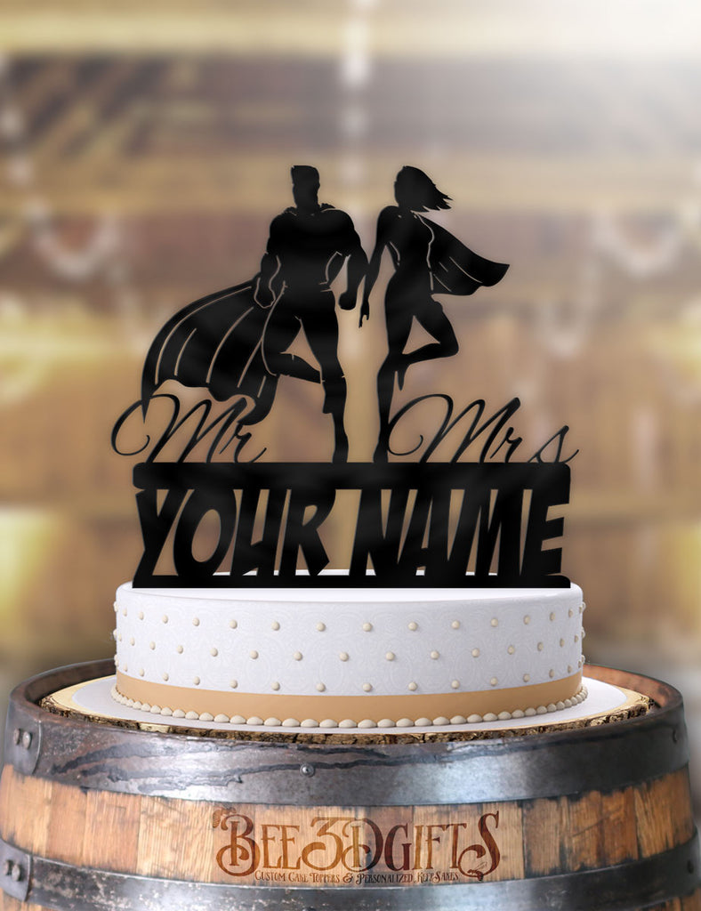 Personalized Floating Super Couple with Name Cake Topper - Bee3dgifts