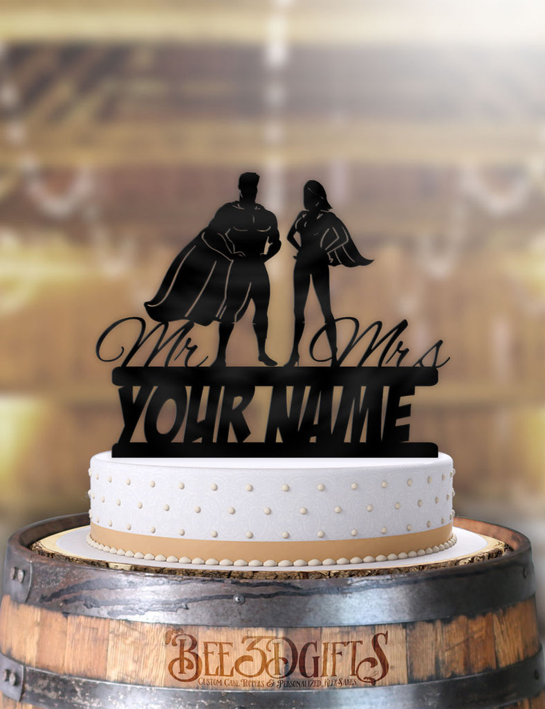 Personalized Standing Super Couple with Name Cake Topper - Bee3dgifts
