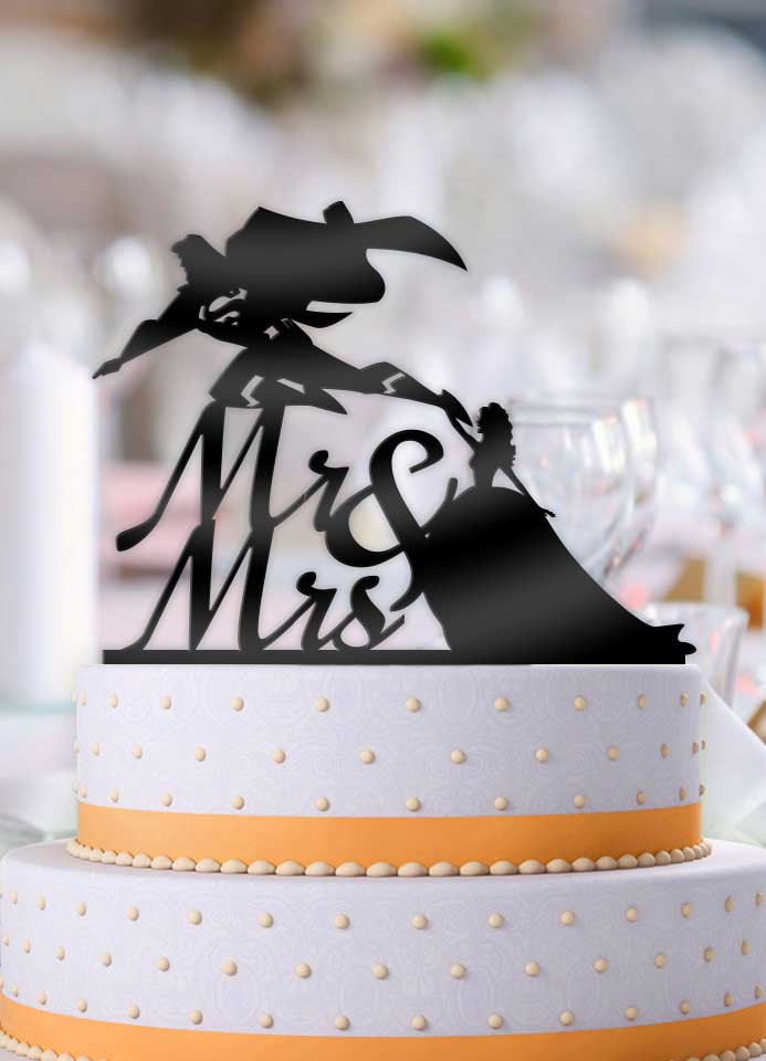 Superman Flying Away Bride Mr and Mrs with Name Cake Topper - Bee3dgifts