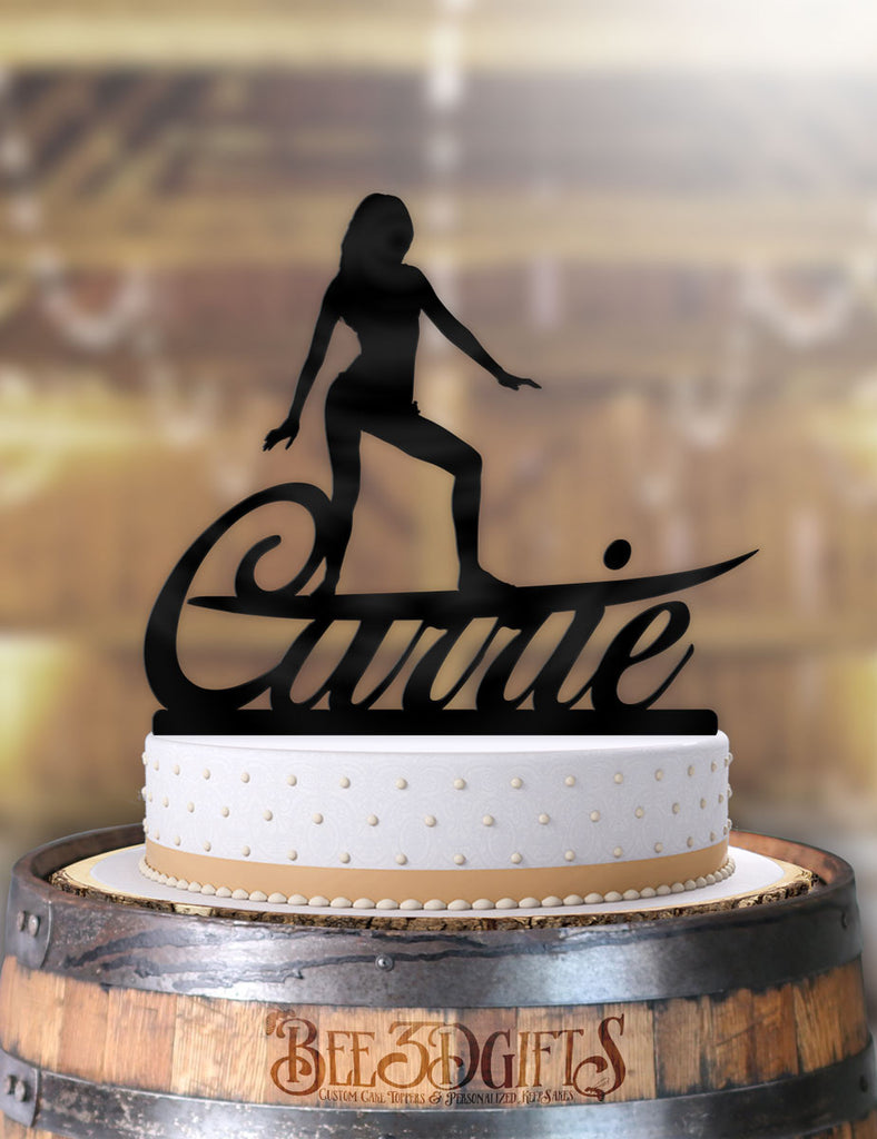 Personalized Female Surfer Riding Name Birthday Cake Topper - Bee3dgifts