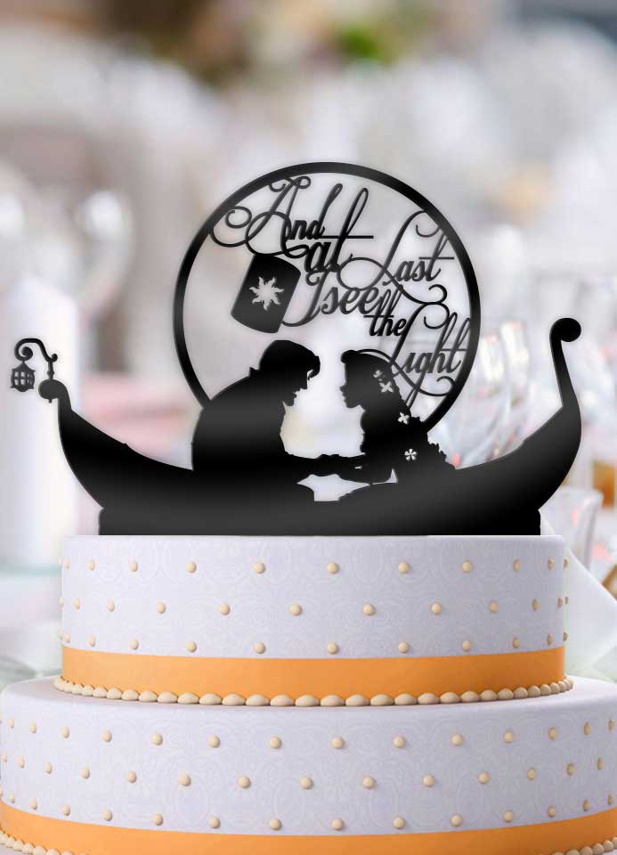 Tangled And at Last I Seen the Light Boat with Lantern Wedding Cake Topper - Bee3dgifts