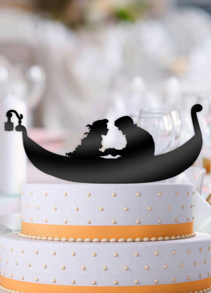 Tangled Boat Scene Wedding Cake Topper - Bee3dgifts
