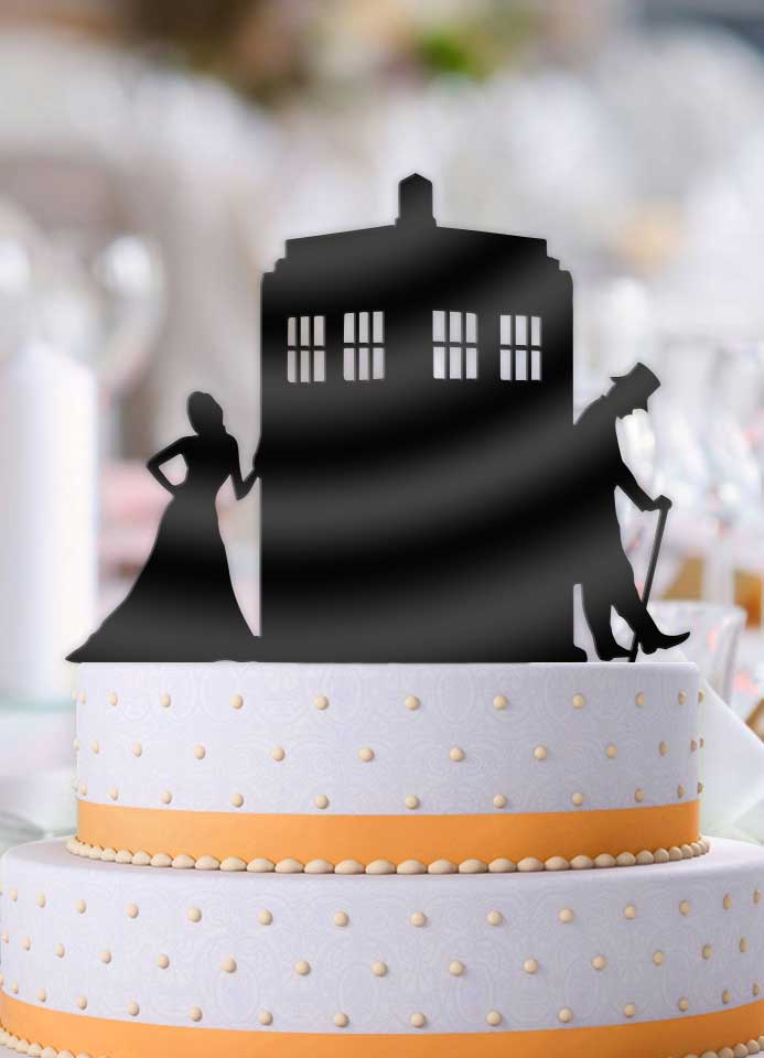 Doctor Who and Companion Leaning Tardis Wedding Cake Topper - Bee3dgifts