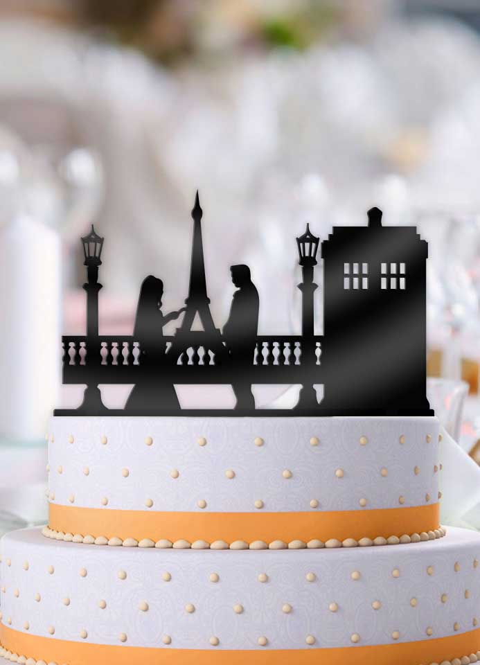Tardis in Paris Wedding Cake Topper - Bee3dgifts
