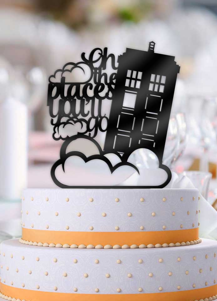 Oh the Places You'll Go Tardis Wedding Cake Topper