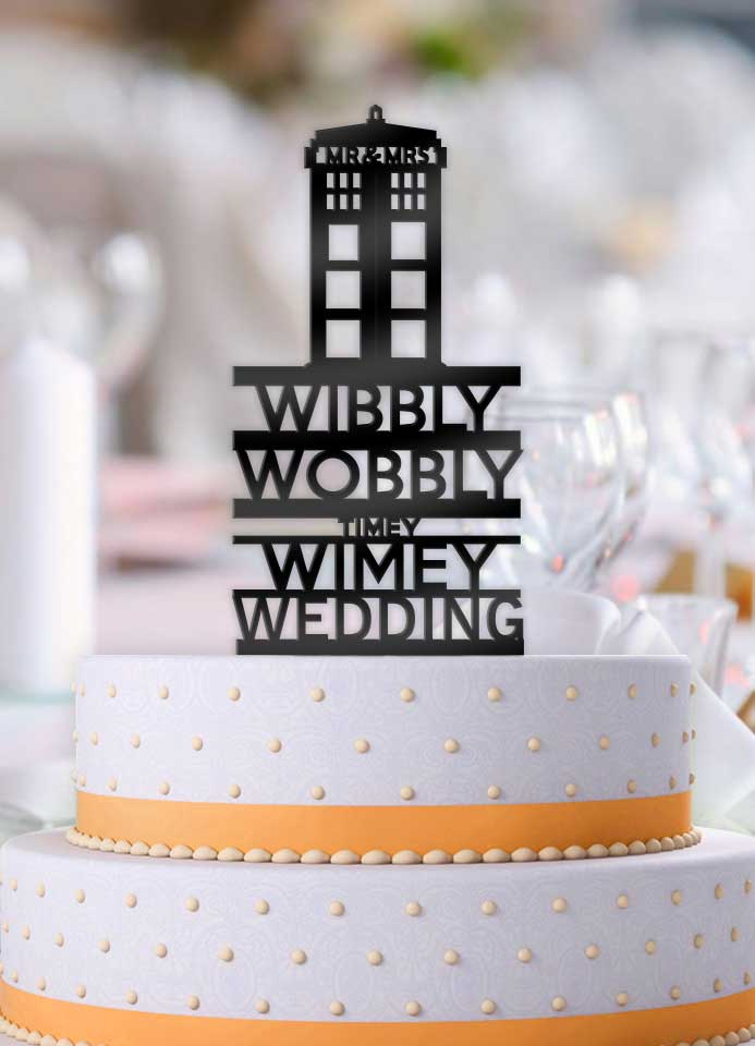 Doctor Who Wibbly Wobbly Timey Wimey Wedding Cake Topper - Bee3dgifts