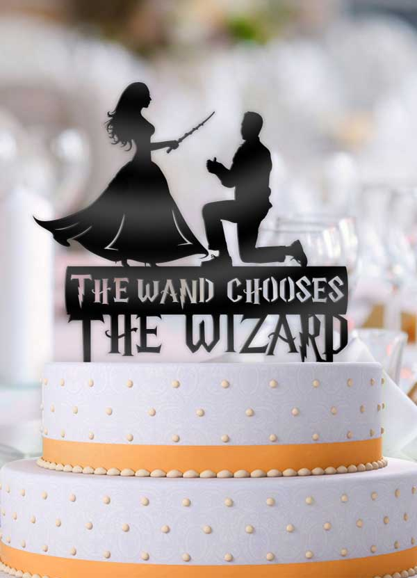 The Wand Chooses The Wizard Wedding Cake Topper - Bee3dgifts