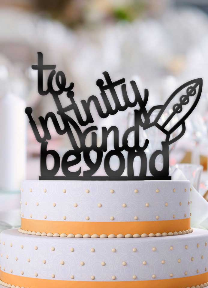 To Infinity and Beyond Rocket Typography Cake Topper - Bee3dgifts