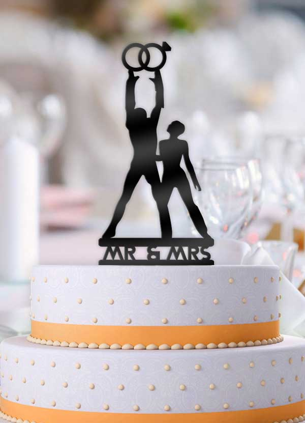 Tron Rings Mr and Mrs Cake Topper - Bee3dgifts