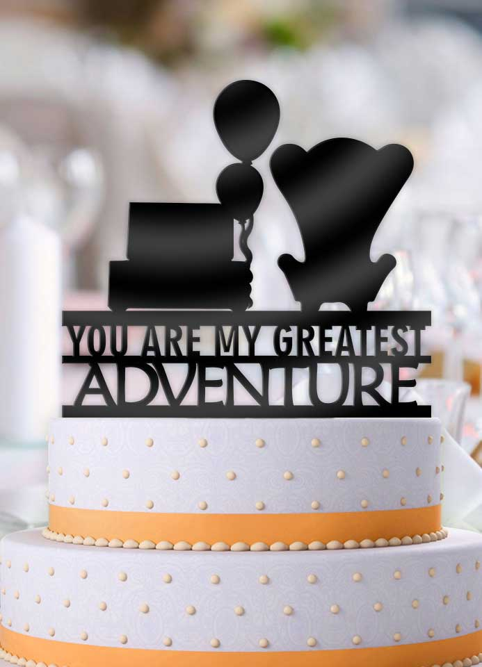 Up Chairs with Balloons You Are My Greatest Adventure Wedding Cake Topper - Bee3dgifts