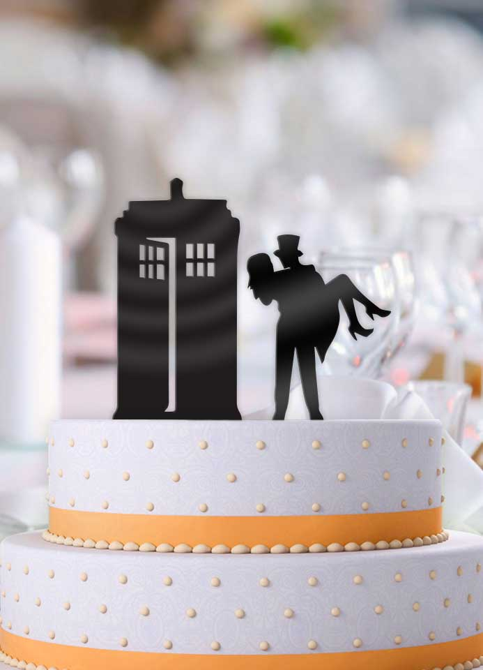 A Very Tardis Couple 2 Piece Wedding Cake Topper - Bee3dgifts