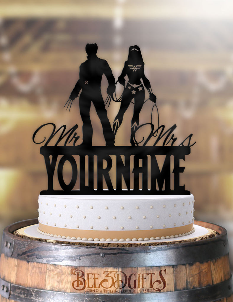 Personalized Wolverine and Wonder Woman with Name Cake Topper - Bee3dgifts