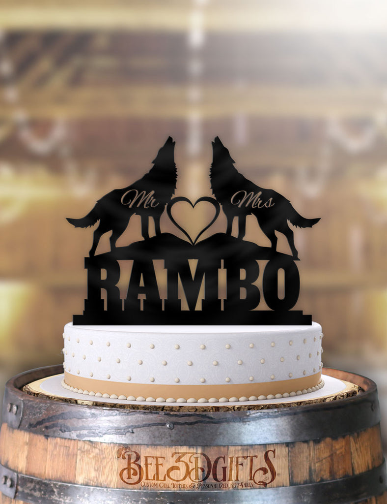 Personalized Wolves Scene MR and Mrs with Name Cake Topper - Bee3dgifts