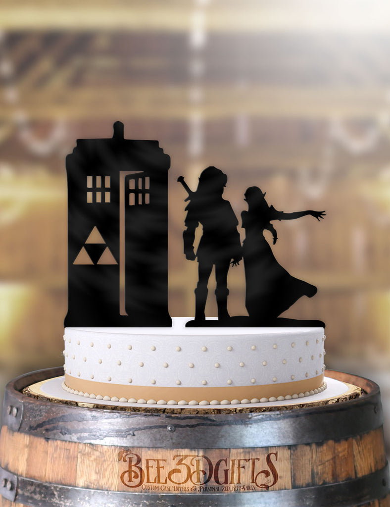Link and Zelda to the Tardis Cake Topper - Bee3dgifts