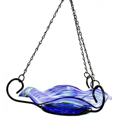 Echo Valley 5141 Illuminarie Hanging Blue Swirl Birdbath