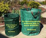 Go-GreenGardening 2-Pack Large Reusable Lawn, Leaf & Garden Waste Bag Collapsible- 72 Gallon