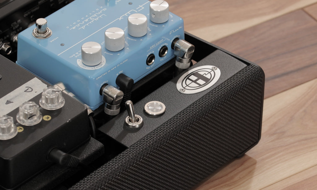 Helweg custom pedalboard with Flux Liquid Ambiance