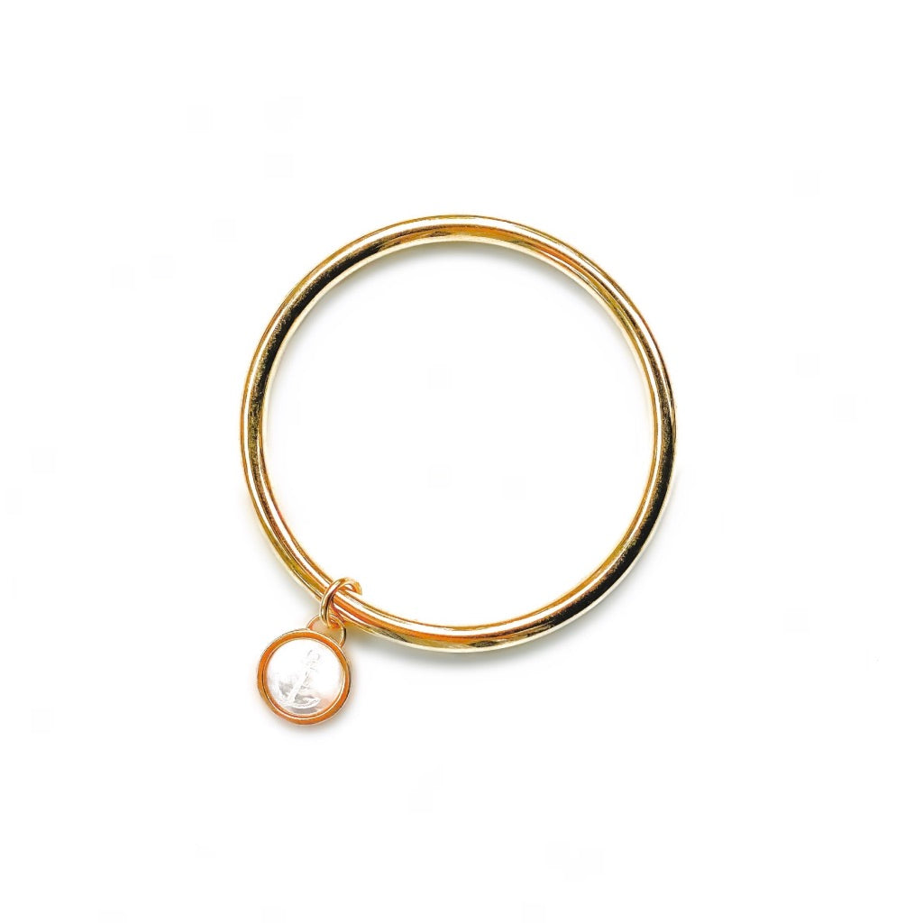 Harbor Charm Bangle Bracelet - Engraved Anchor