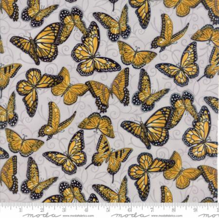 Bee Inspired Butterflies in Dove Grey by Deb Strain for Moda